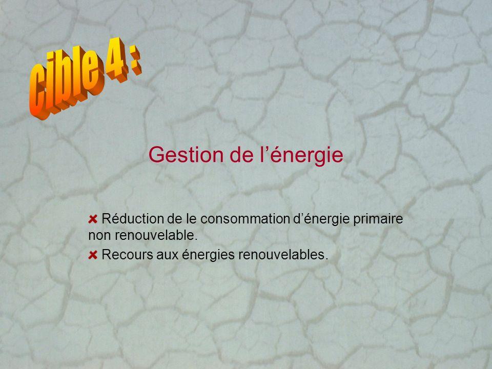 Gestion de lénergie Réduction de le consommation dénergie primaire non renouvelable. Recours aux énergies renouvelables.