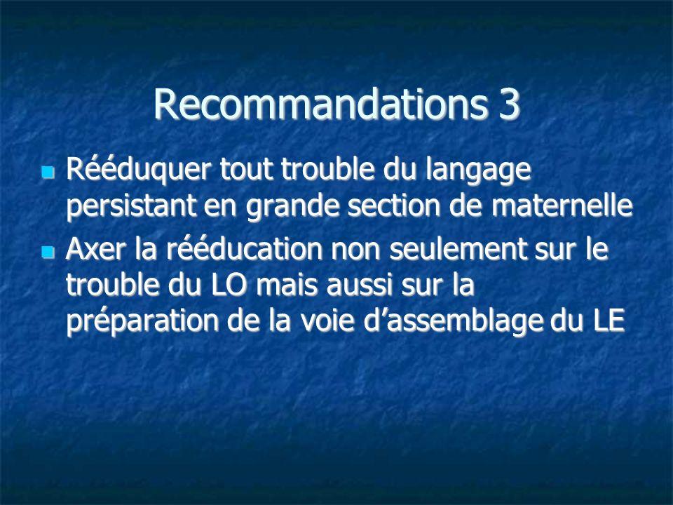 Recommandations 3 Rééduquer tout trouble du langage persistant en grande section de maternelle Rééduquer tout trouble du langage persistant en grande