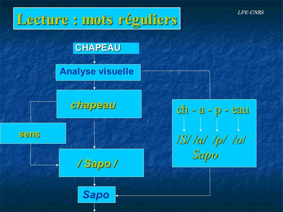 Lecture : mots réguliers Analyse visuelle chapeau / Sapo / Sapo sens sensCHAPEAU ch - a - p - eau /S/ /a/ /p/ /o/ Sapo Sapo LPE-CNRS