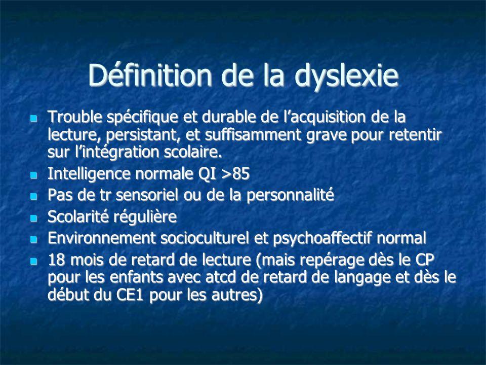 Définition de la dyslexie Trouble spécifique et durable de lacquisition de la lecture, persistant, et suffisamment grave pour retentir sur lintégratio