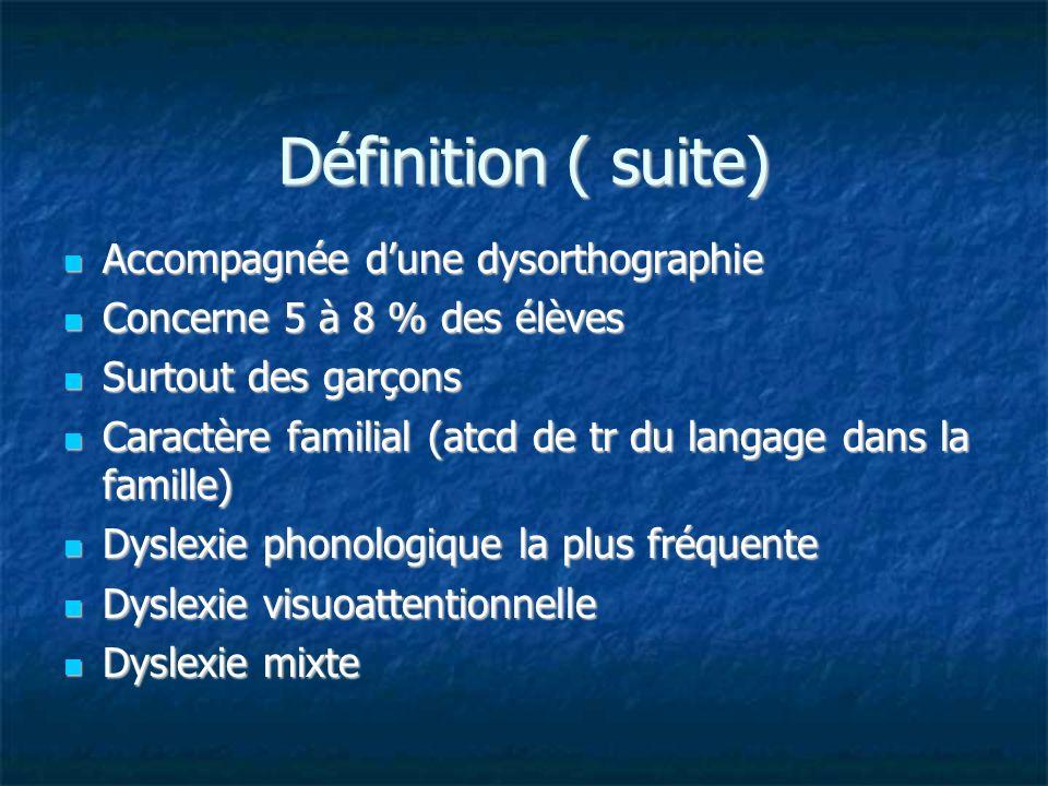 Définition ( suite) Accompagnée dune dysorthographie Accompagnée dune dysorthographie Concerne 5 à 8 % des élèves Concerne 5 à 8 % des élèves Surtout
