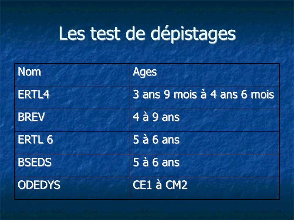 Les test de dépistages NomAges ERTL4 3 ans 9 mois à 4 ans 6 mois BREV 4 à 9 ans ERTL 6 5 à 6 ans BSEDS ODEDYS CE1 à CM2