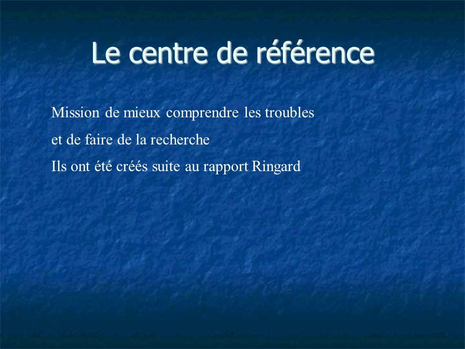 Le centre de référence Mission de mieux comprendre les troubles et de faire de la recherche Ils ont été créés suite au rapport Ringard