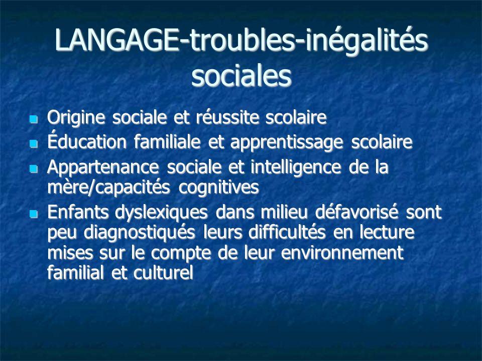 LANGAGE-troubles-inégalités sociales Origine sociale et réussite scolaire Origine sociale et réussite scolaire Éducation familiale et apprentissage sc