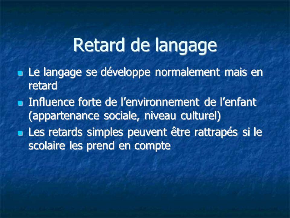 Retard de langage Le langage se développe normalement mais en retard Le langage se développe normalement mais en retard Influence forte de lenvironnem