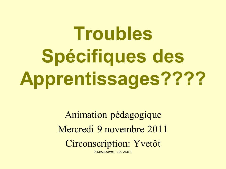 Troubles Spécifiques des Apprentissages???? Animation pédagogique Mercredi 9 novembre 2011 Circonscription: Yvetôt Nadine Bidaux – CPC ASH-1