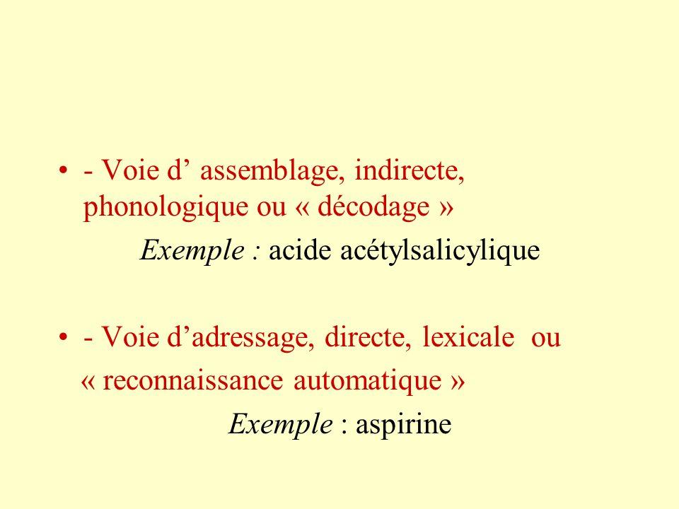 - Voie d assemblage, indirecte, phonologique ou « décodage » Exemple : acide acétylsalicylique - Voie dadressage, directe, lexicale ou « reconnaissanc