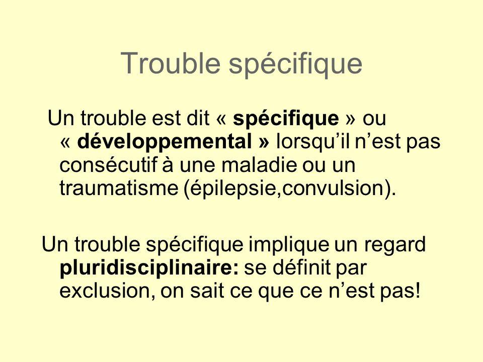 Trouble spécifique Un trouble est dit « spécifique » ou « développemental » lorsquil nest pas consécutif à une maladie ou un traumatisme (épilepsie,co