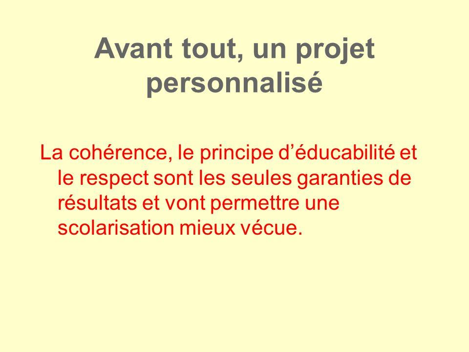 Avant tout, un projet personnalisé La cohérence, le principe déducabilité et le respect sont les seules garanties de résultats et vont permettre une s