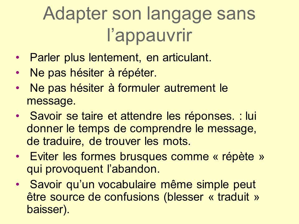 Adapter son langage sans lappauvrir Parler plus lentement, en articulant. Ne pas hésiter à répéter. Ne pas hésiter à formuler autrement le message. Sa