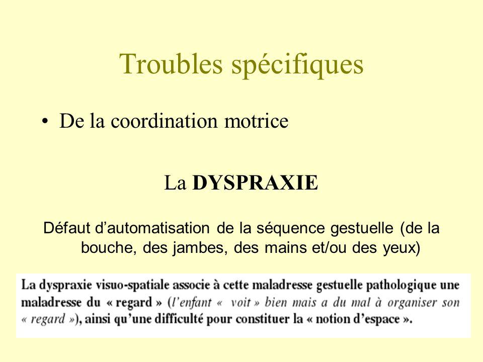 Troubles spécifiques De la coordination motrice La DYSPRAXIE Défaut dautomatisation de la séquence gestuelle (de la bouche, des jambes, des mains et/o