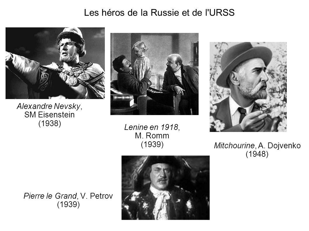 Les héros de la Russie et de l'URSS Pierre le Grand, V. Petrov (1939) Lenine en 1918, M. Romm (1939) Mitchourine, A. Dojvenko (1948) Alexandre Nevsky,
