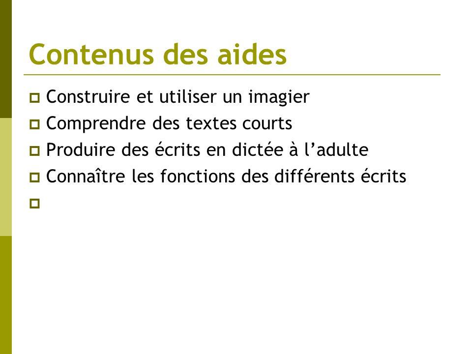 Contenus des aides Construire et utiliser un imagier Comprendre des textes courts Produire des écrits en dictée à ladulte Connaître les fonctions des
