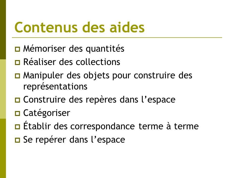 Contenus des aides Mémoriser des quantités Réaliser des collections Manipuler des objets pour construire des représentations Construire des repères da
