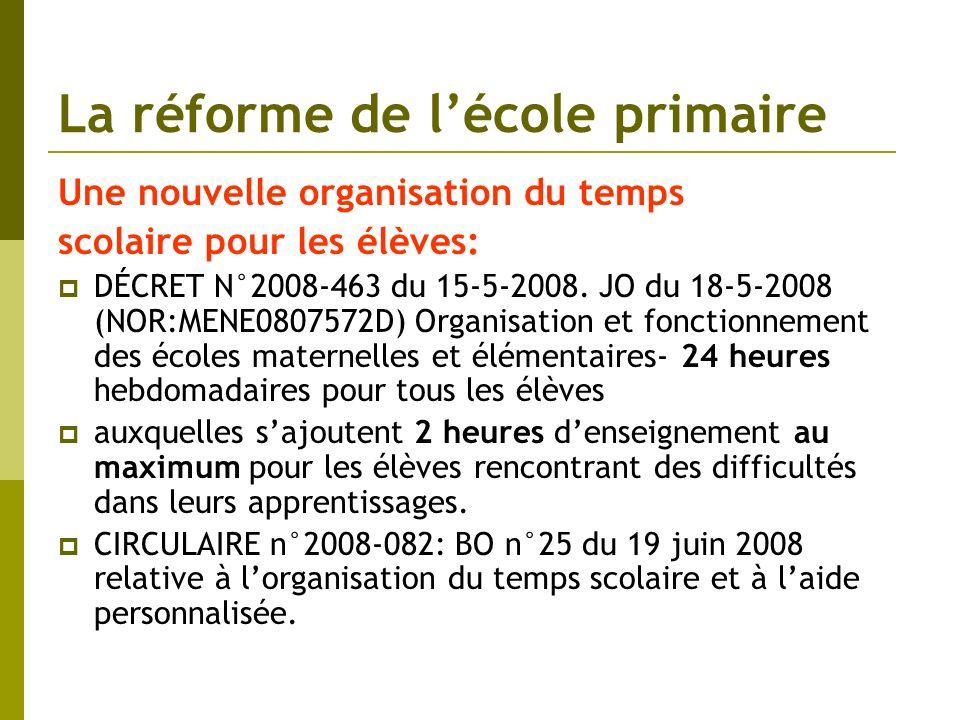 La réforme de lécole primaire Une nouvelle organisation du temps scolaire pour les élèves: DÉCRET N°2008-463 du 15-5-2008. JO du 18-5-2008 (NOR:MENE08