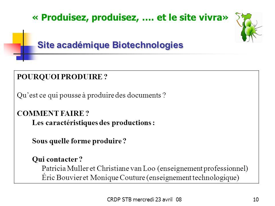 CRDP STB mercredi 23 avril 0810 Site académique Biotechnologies POURQUOI PRODUIRE .