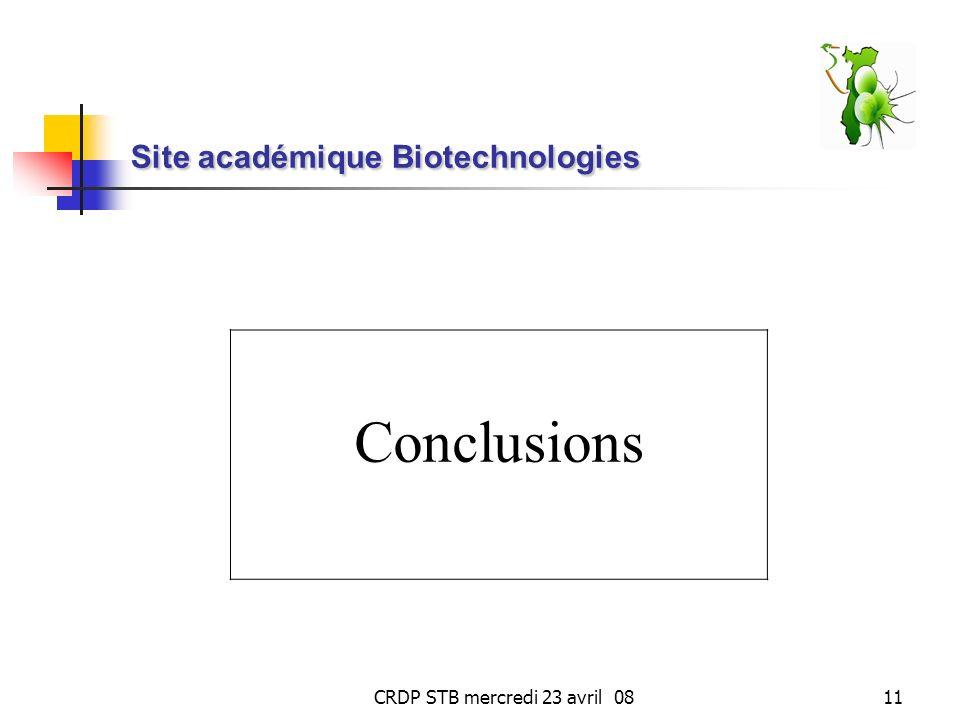 CRDP STB mercredi 23 avril 0811 Site académique Biotechnologies Conclusions