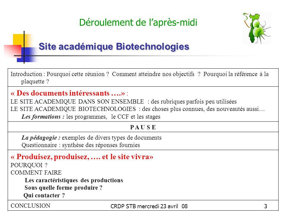 CRDP STB mercredi 23 avril 083 Site académique Biotechnologies Déroulement de laprès-midi Introduction : Pourquoi cette réunion .