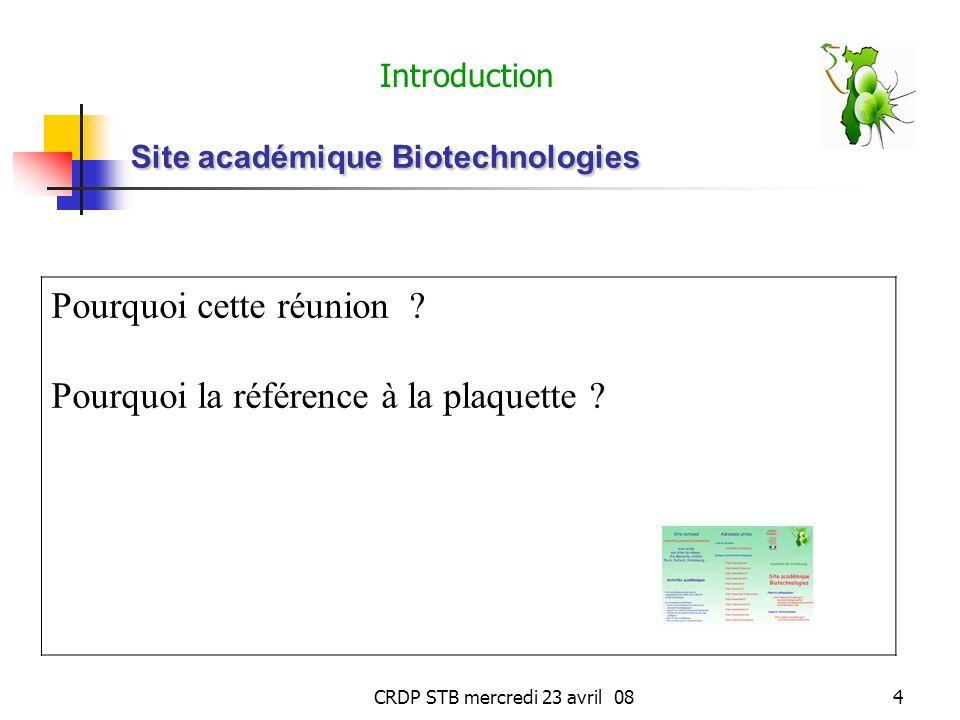 CRDP STB mercredi 23 avril 084 Site académique Biotechnologies Pourquoi cette réunion .
