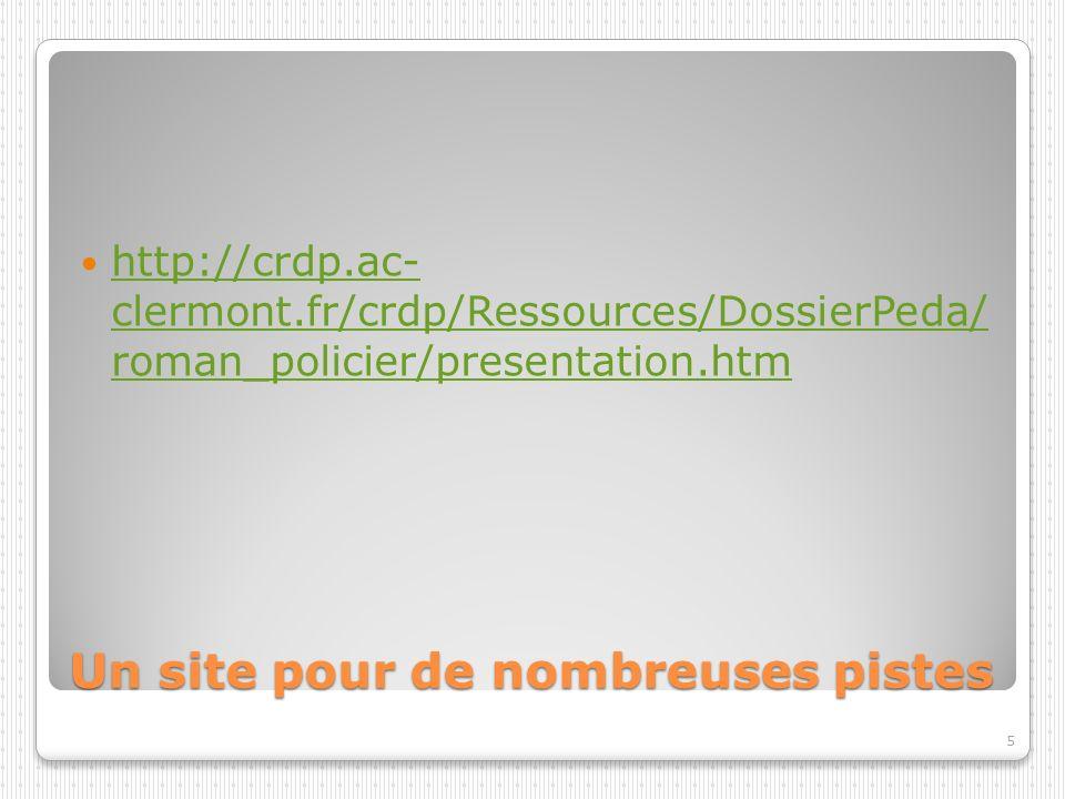 Un site pour de nombreuses pistes http://crdp.ac- clermont.fr/crdp/Ressources/DossierPeda/ roman_policier/presentation.htm http://crdp.ac- clermont.fr