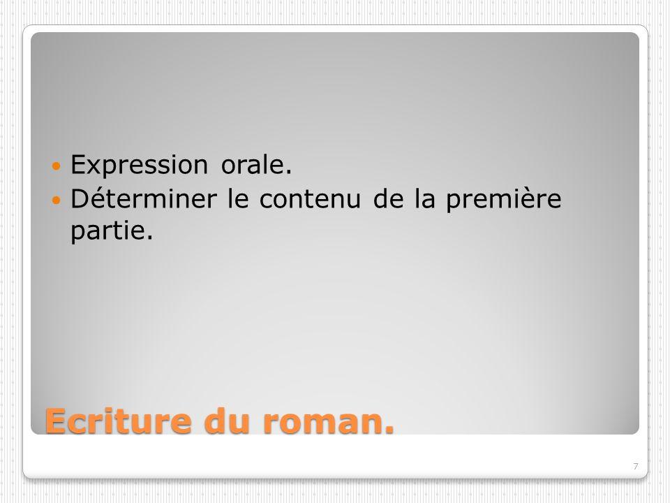Ecriture du roman. Expression orale. Déterminer le contenu de la première partie. 7