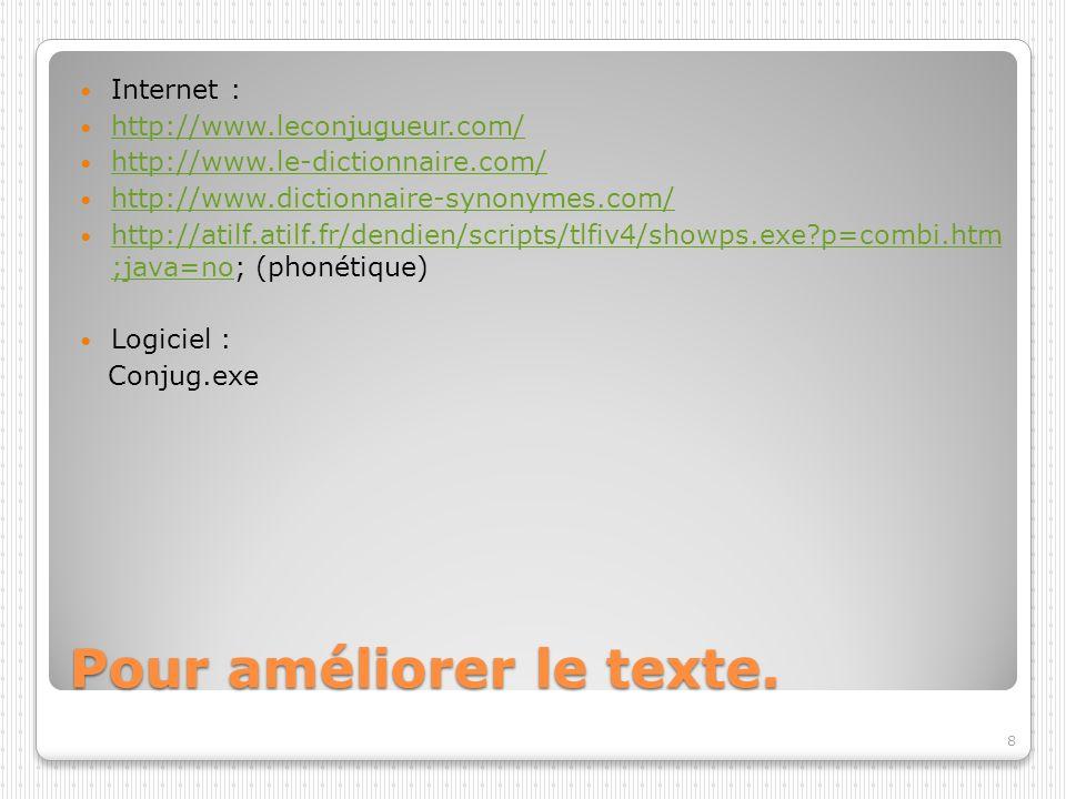 Pour améliorer le texte. Internet : http://www.leconjugueur.com/ http://www.le-dictionnaire.com/ http://www.dictionnaire-synonymes.com/ http://atilf.a