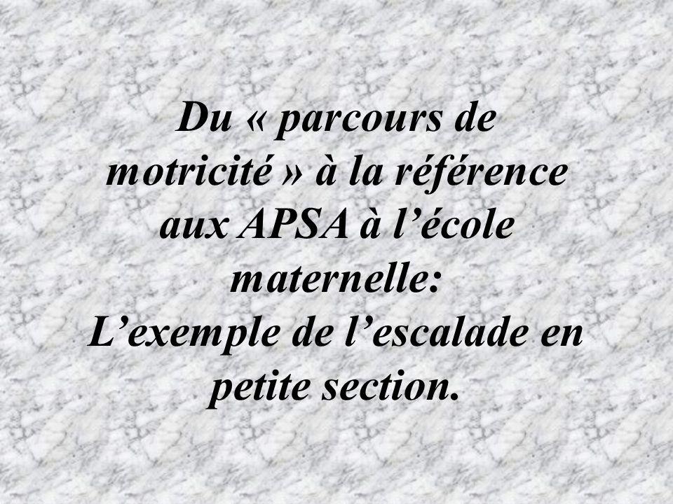 Du « parcours de motricité » à la référence aux APSA à lécole maternelle: Lexemple de lescalade en petite section.