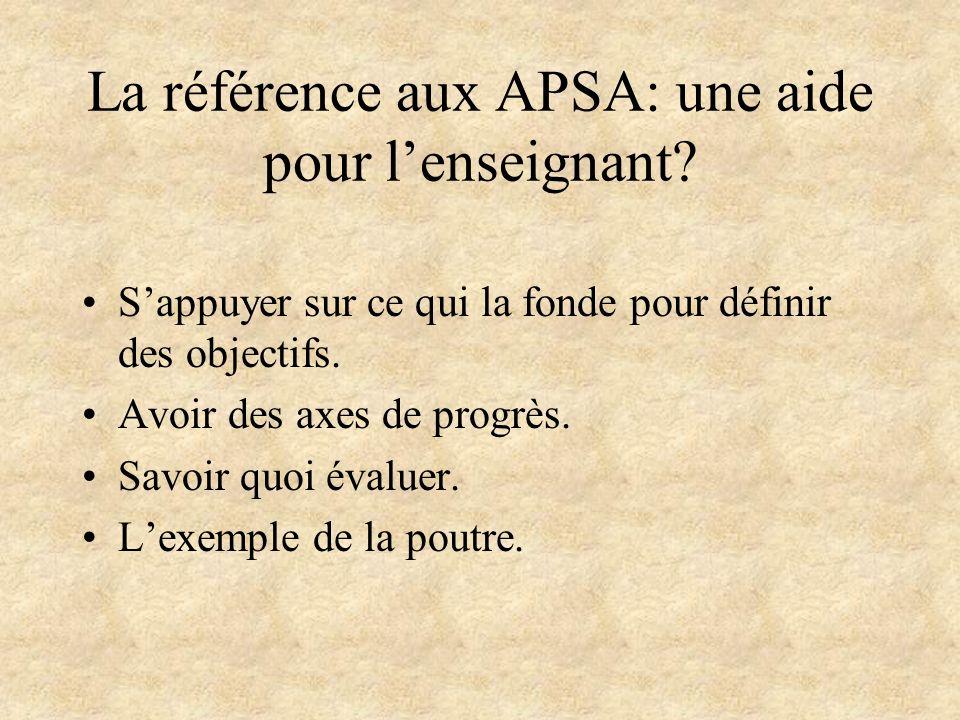 La référence aux APSA: une aide pour lenseignant? Sappuyer sur ce qui la fonde pour définir des objectifs. Avoir des axes de progrès. Savoir quoi éval