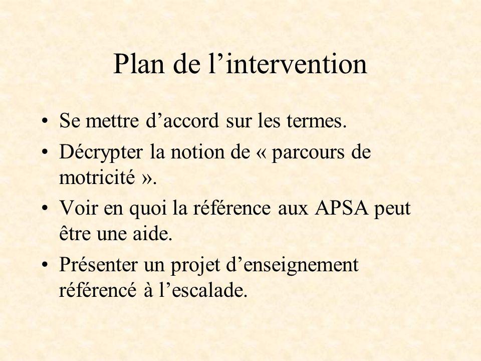 Plan de lintervention Se mettre daccord sur les termes. Décrypter la notion de « parcours de motricité ». Voir en quoi la référence aux APSA peut être