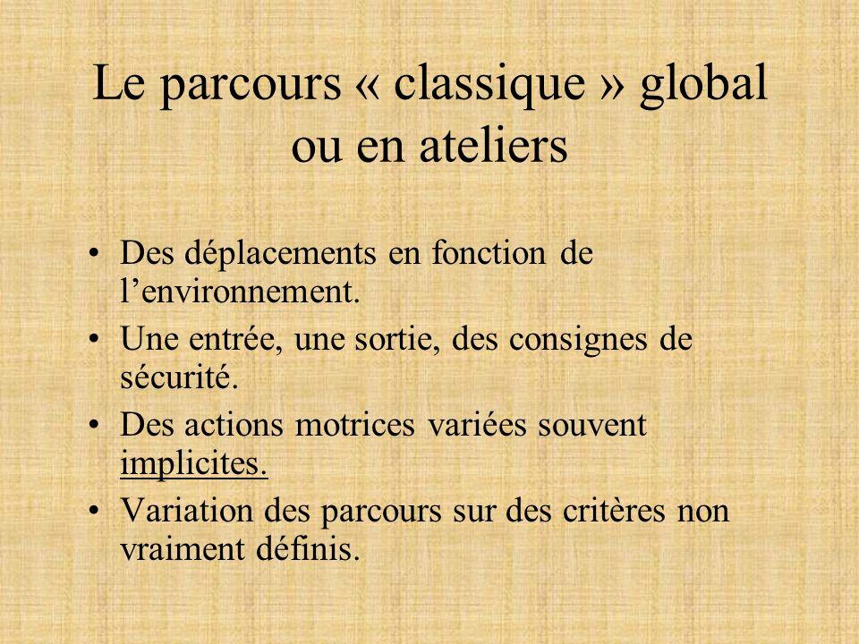 Le parcours « classique » global ou en ateliers Des déplacements en fonction de lenvironnement. Une entrée, une sortie, des consignes de sécurité. Des