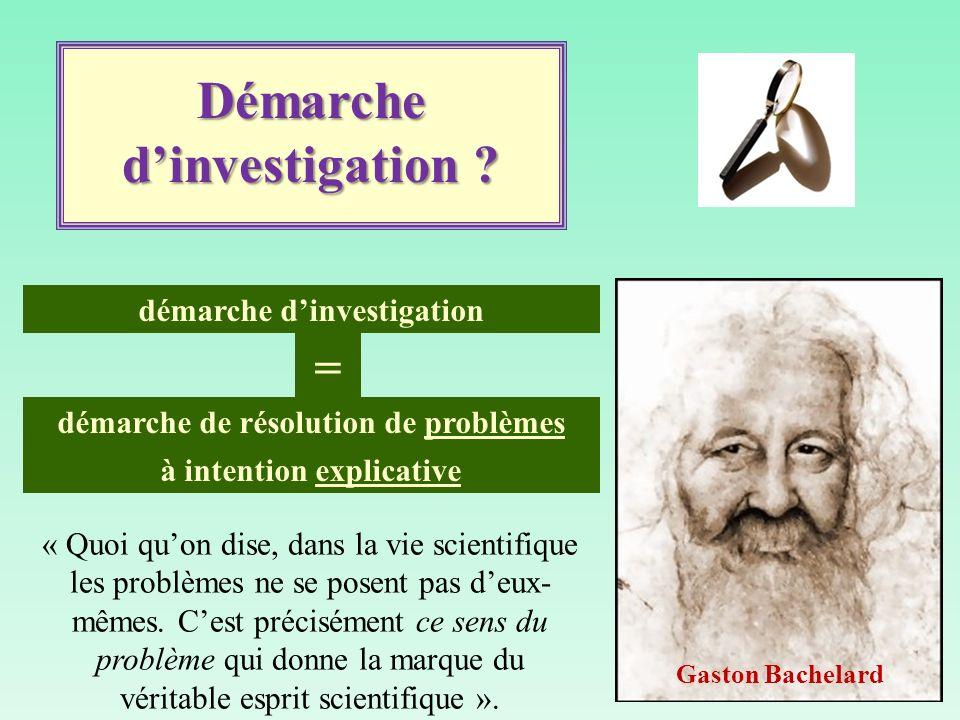 démarche dinvestigation démarche de résolution de problèmes à intention explicative = Démarche dinvestigation ? « Quoi quon dise, dans la vie scientif