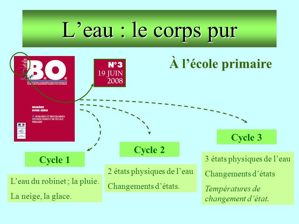Leau : le corps pur Cycle 3 3 états physiques de leau Changements détats Températures de changement détat. Cycle 1 Leau du robinet ; la pluie. La neig