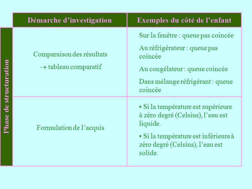 Démarche dinvestigationExemples du côté de lenfant Comparaison des résultats tableau comparatif Formulation de lacquis Sur la fenêtre : queue pas coin