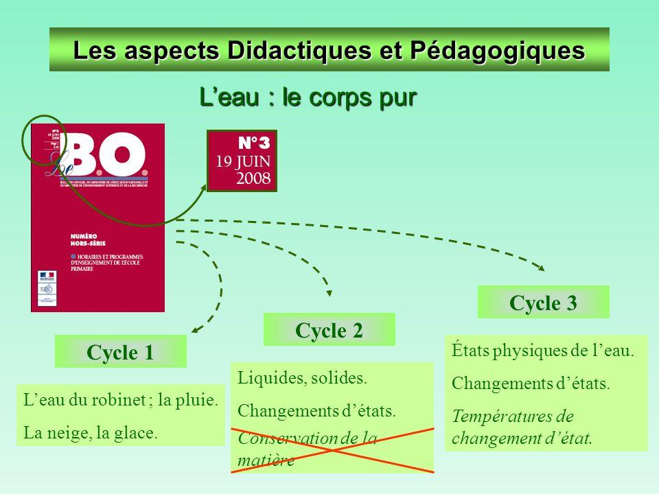 Les aspects Didactiques et Pédagogiques Leau : le corps pur Conservation de la matière Cycle 3 États physiques de leau. Changements détats. Températur