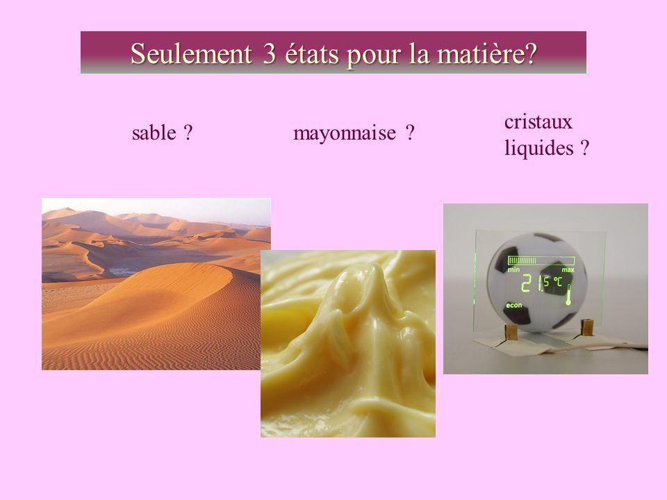 Seulement 3 états pour la matière? sable ?mayonnaise ? cristaux liquides ?