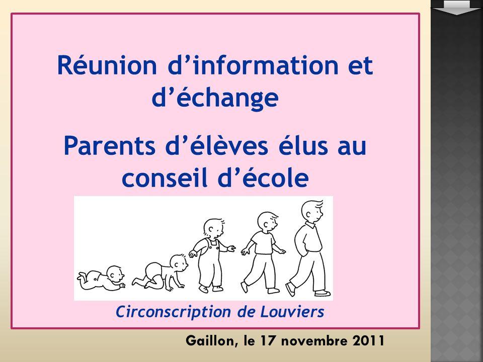 Réunion dinformation et déchange Parents délèves élus au conseil décole Circonscription de Louviers Gaillon, le 17 novembre 2011