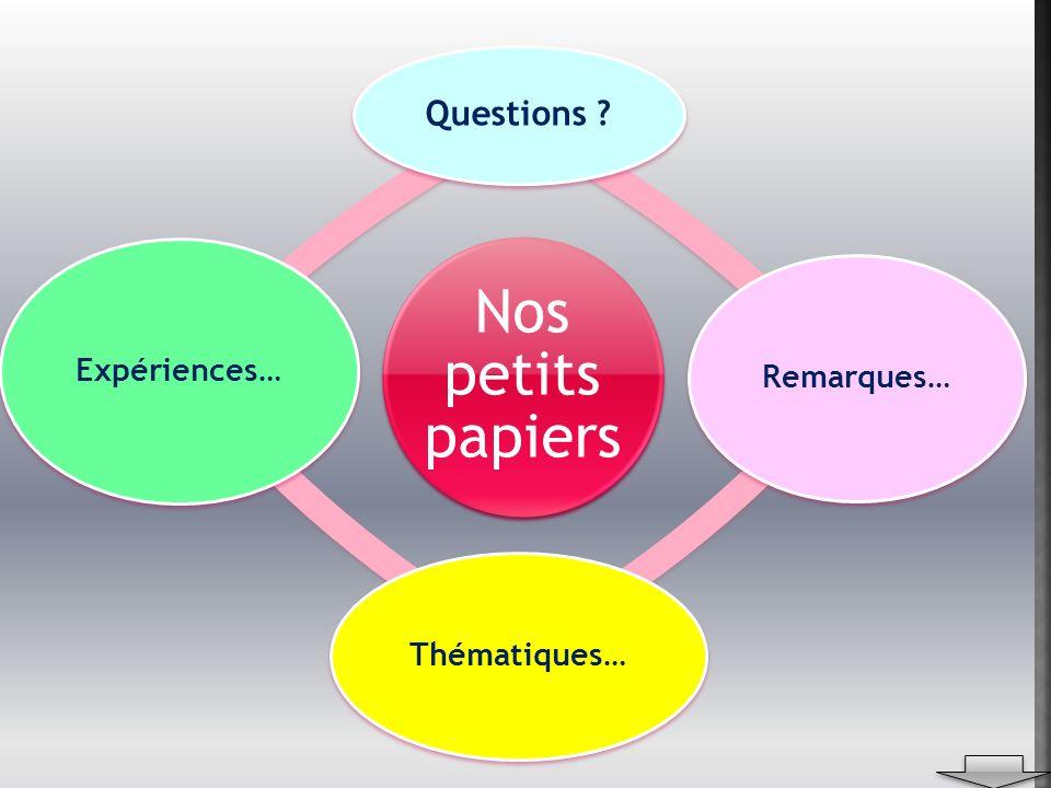 Nos petits papiers Questions ? Remarques… Thématiques… Expériences…