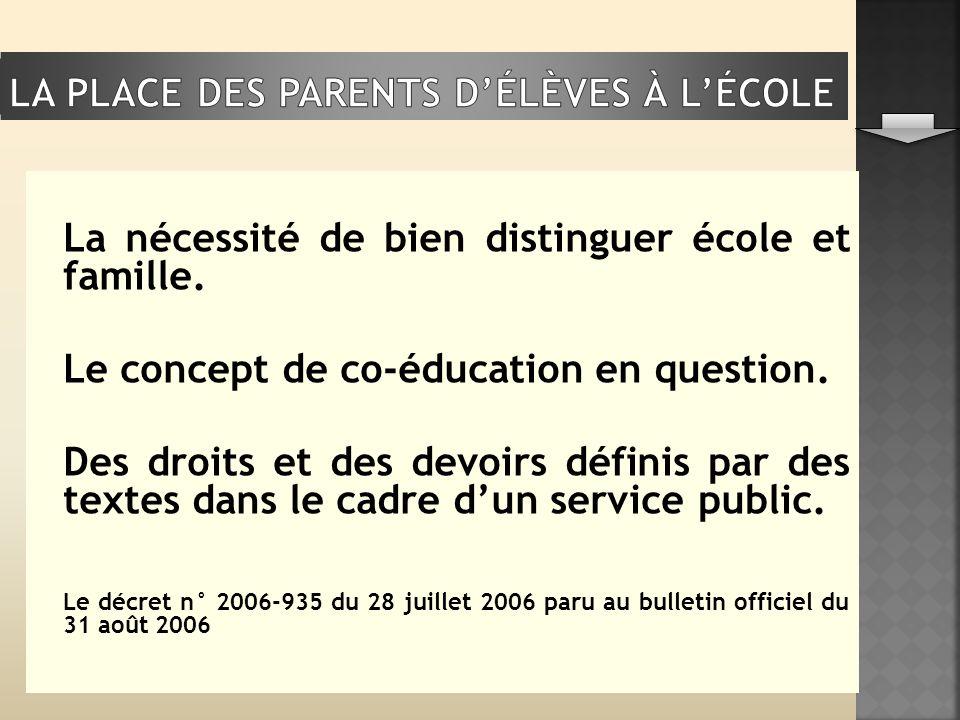 La nécessité de bien distinguer école et famille. Le concept de co-éducation en question. Des droits et des devoirs définis par des textes dans le cad