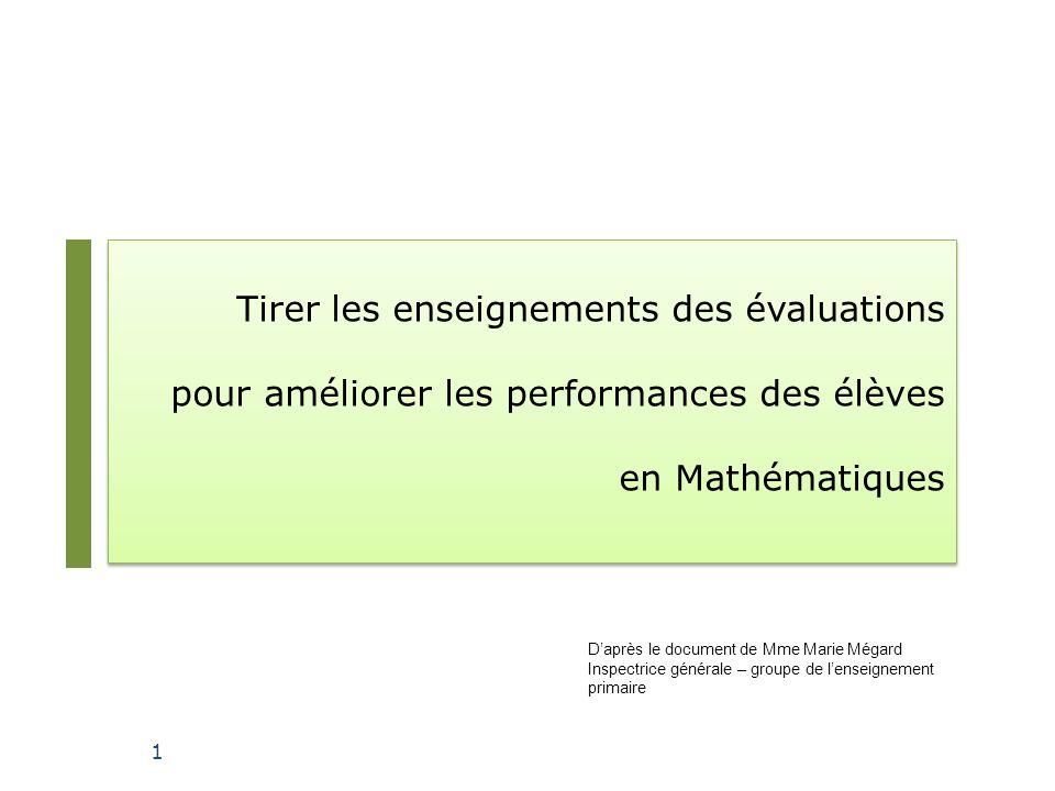Tirer les enseignements des évaluations pour améliorer les performances des élèves en Mathématiques 1 Daprès le document de Mme Marie Mégard Inspectri