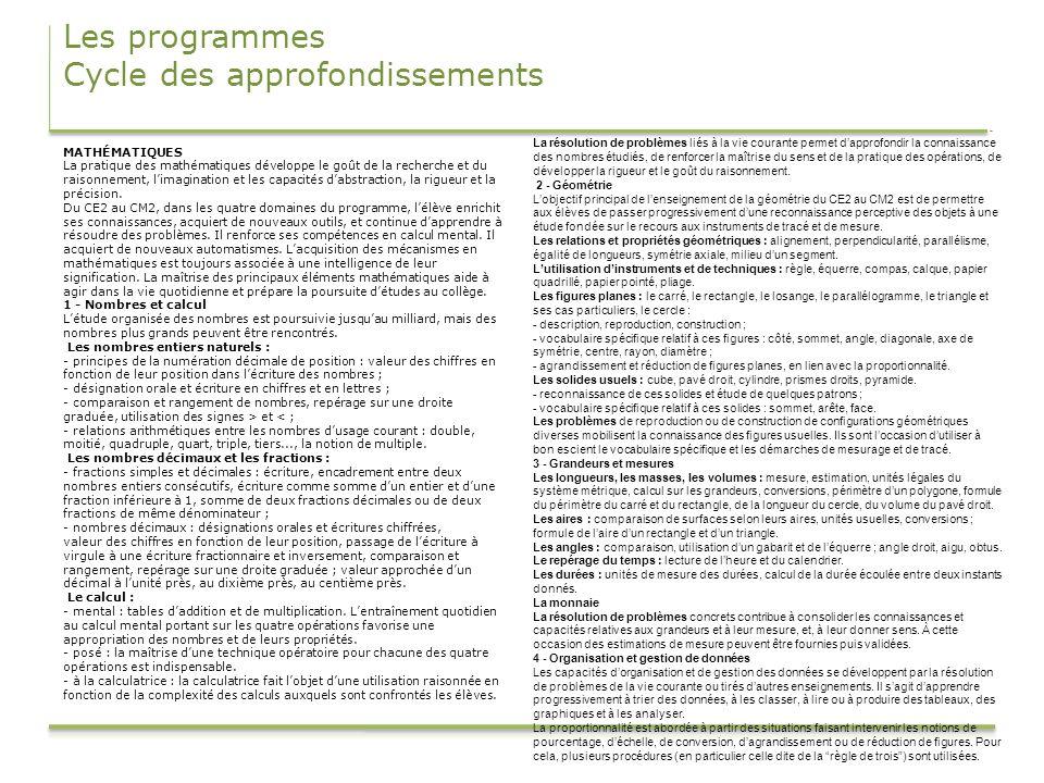 Les programmes Cycle des approfondissements MATHÉMATIQUES La pratique des mathématiques développe le goût de la recherche et du raisonnement, limagina