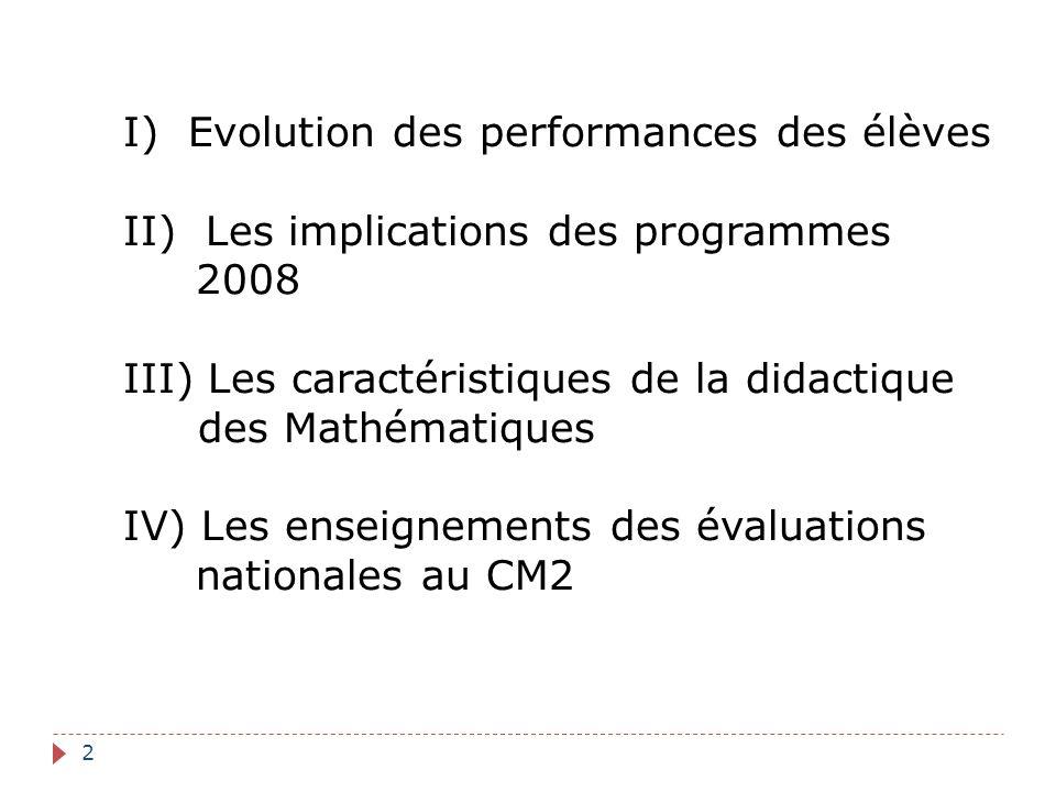 2 I) Evolution des performances des élèves II) Les implications des programmes 2008 III) Les caractéristiques de la didactique des Mathématiques IV) L