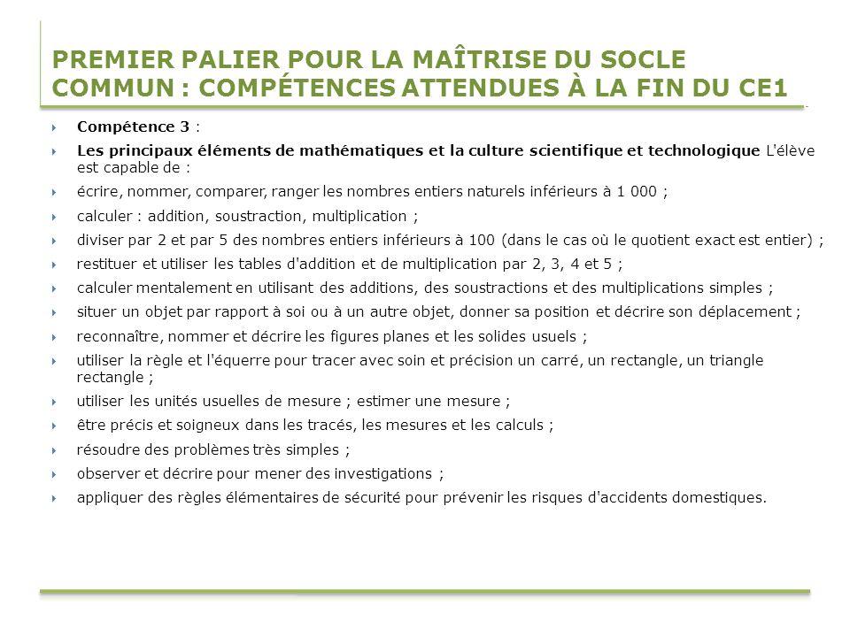 PREMIER PALIER POUR LA MAÎTRISE DU SOCLE COMMUN : COMPÉTENCES ATTENDUES À LA FIN DU CE1 Compétence 3 : Les principaux éléments de mathématiques et la