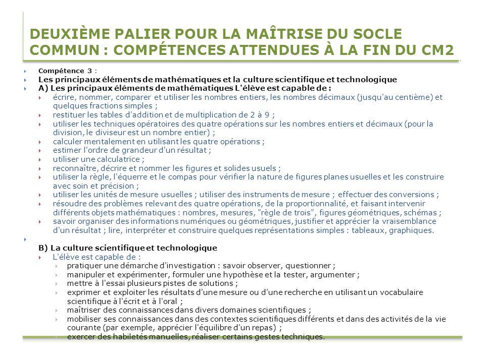 DEUXIÈME PALIER POUR LA MAÎTRISE DU SOCLE COMMUN : COMPÉTENCES ATTENDUES À LA FIN DU CM2 Compétence 3 : Les principaux éléments de mathématiques et la