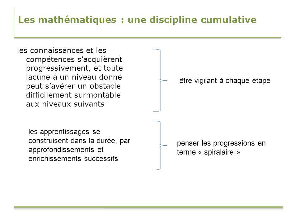 Les mathématiques : une discipline cumulative les connaissances et les compétences sacquièrent progressivement, et toute lacune à un niveau donné peut