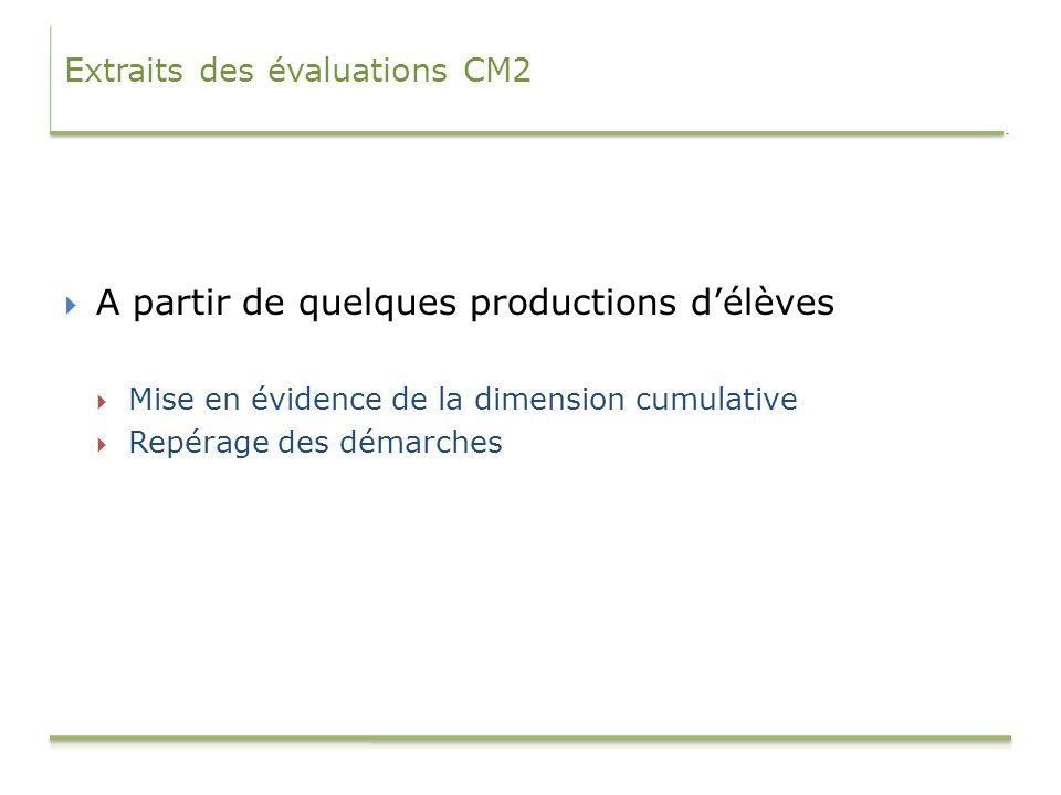 Extraits des évaluations CM2 A partir de quelques productions délèves Mise en évidence de la dimension cumulative Repérage des démarches