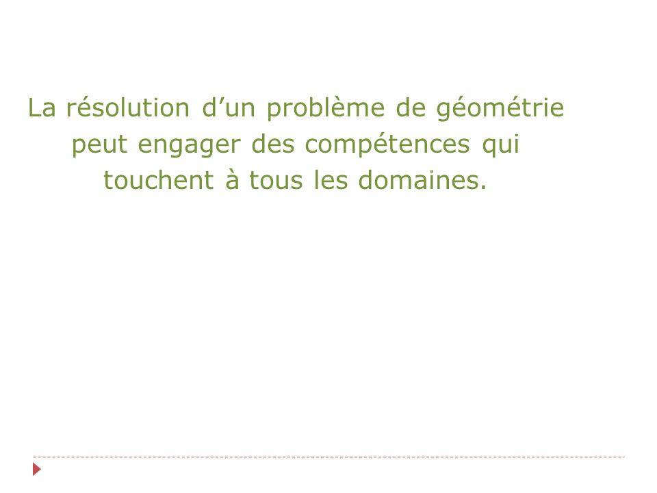 La résolution dun problème de géométrie peut engager des compétences qui touchent à tous les domaines.