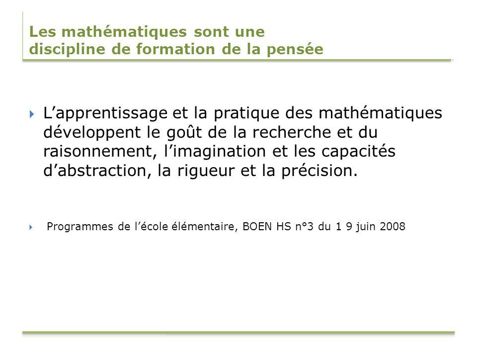 Les mathématiques sont une discipline de formation de la pensée Lapprentissage et la pratique des mathématiques développent le goût de la recherche et