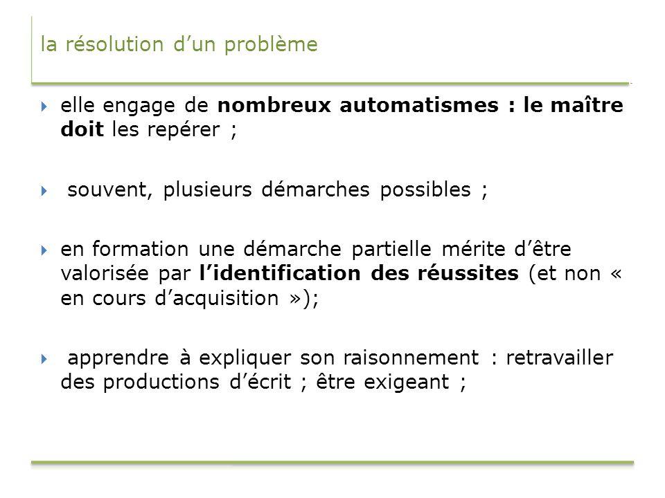 la résolution dun problème elle engage de nombreux automatismes : le maître doit les repérer ; souvent, plusieurs démarches possibles ; en formation u
