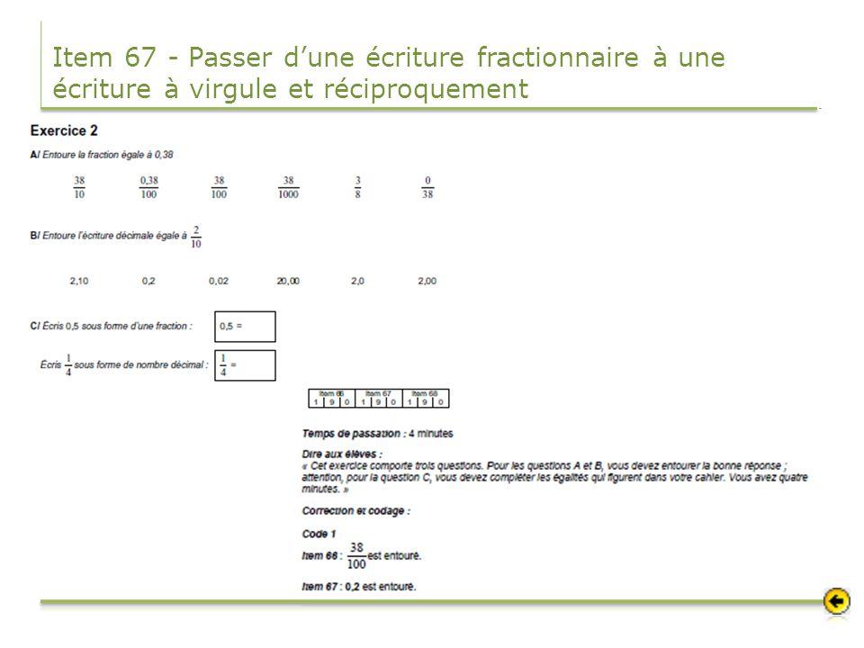 Item 67 - Passer dune écriture fractionnaire à une écriture à virgule et réciproquement