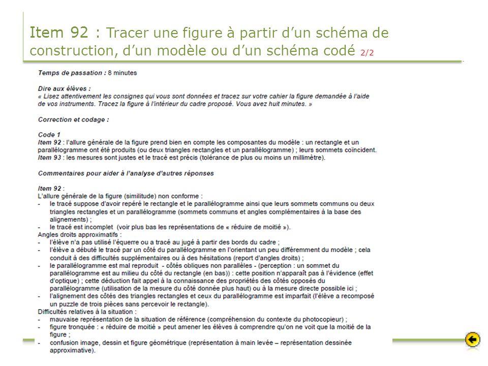 Item 92 : Tracer une figure à partir dun schéma de construction, dun modèle ou dun schéma codé 2/2